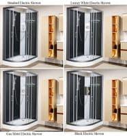 Vidalux Right Hand Pure-E 1200mm x 800mm Black Offset Quadrant Shower Pod + Electric Shower Option